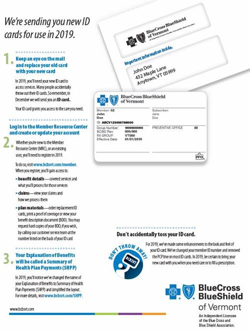 BE ON THE LOOK OUT FOR NEW BC/BS HEALTH INSURANCE CARDS!